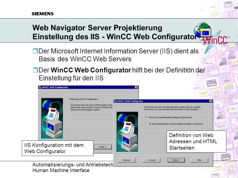 Web Navigator Server Projektierung Einstellung des IIS - WinCC Web Configurator
