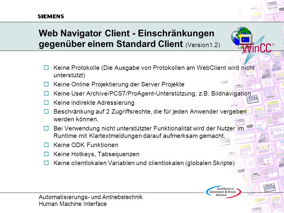 Web Navigator Client - Einschränkungen gegenüber einem Standard Client (Version1.2)