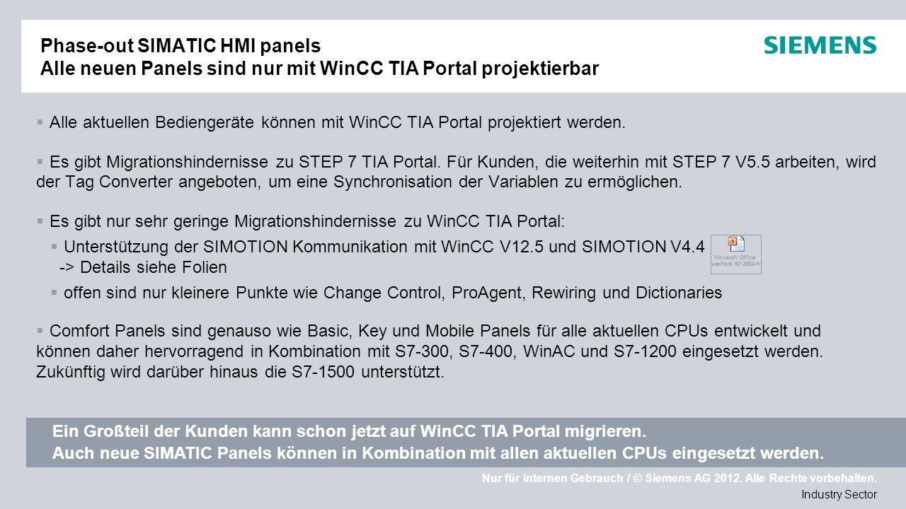 Phase-out SIMATIC HMI panels Alle neuen Panels sind nur mit WinCC TIA Portal projektierbar