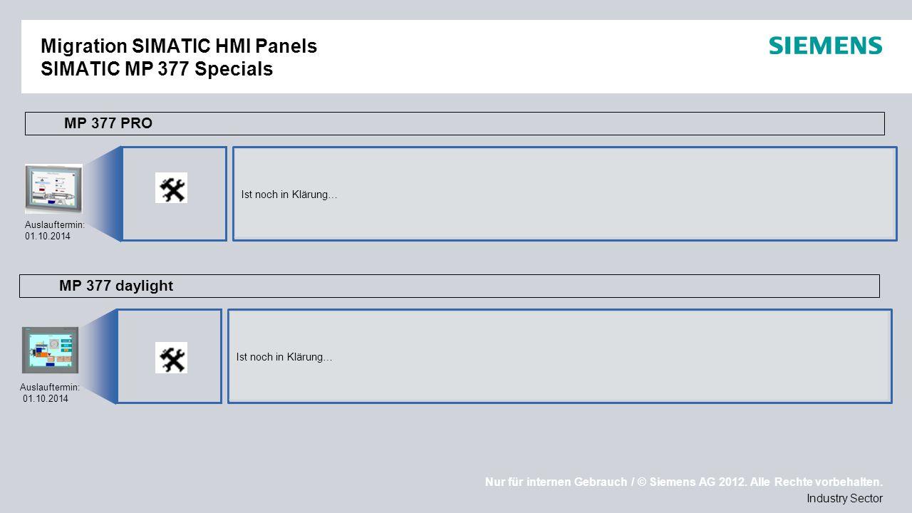 Migration SIMATIC HMI Panels SIMATIC MP 377 Specials