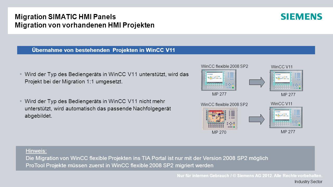 Migration SIMATIC HMI Panels Migration von vorhandenen HMI Projekten