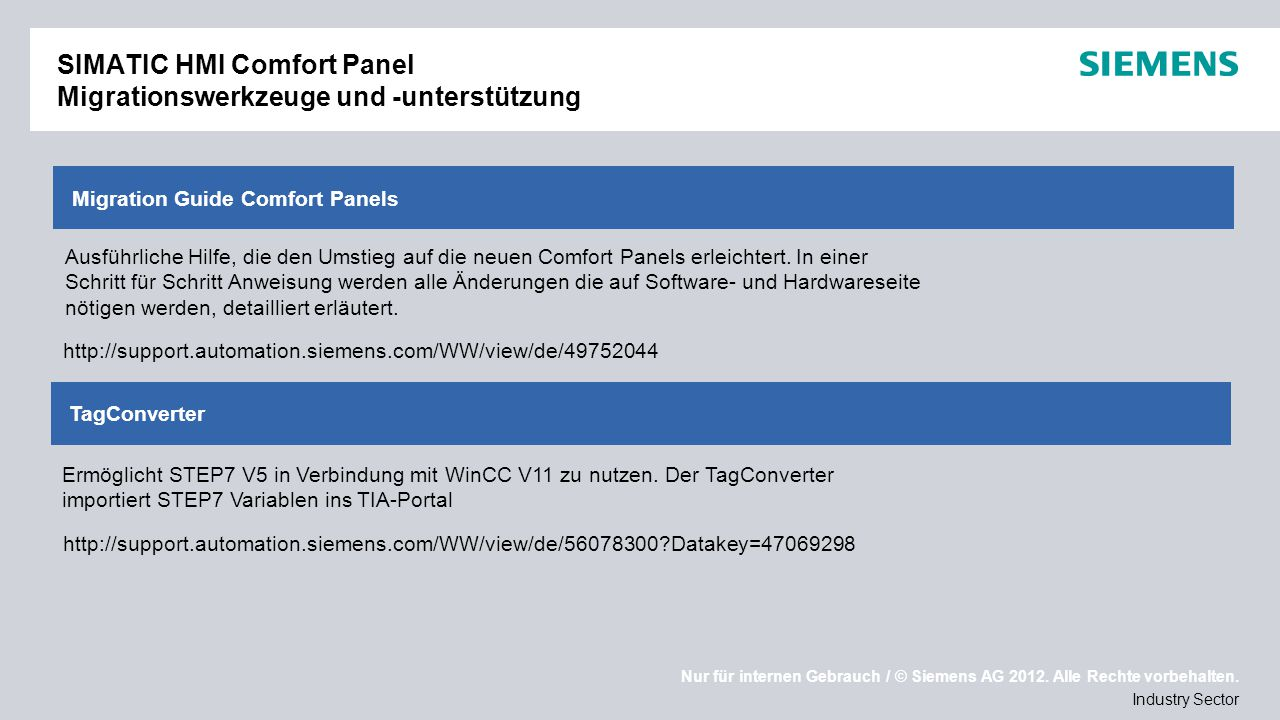 SIMATIC HMI Comfort Panel Migrationswerkzeuge und -unterstützung