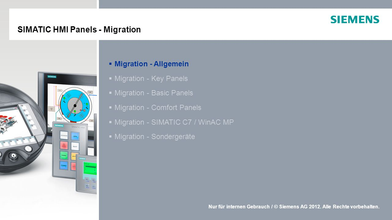 SIMATIC HMI Panels - Migration