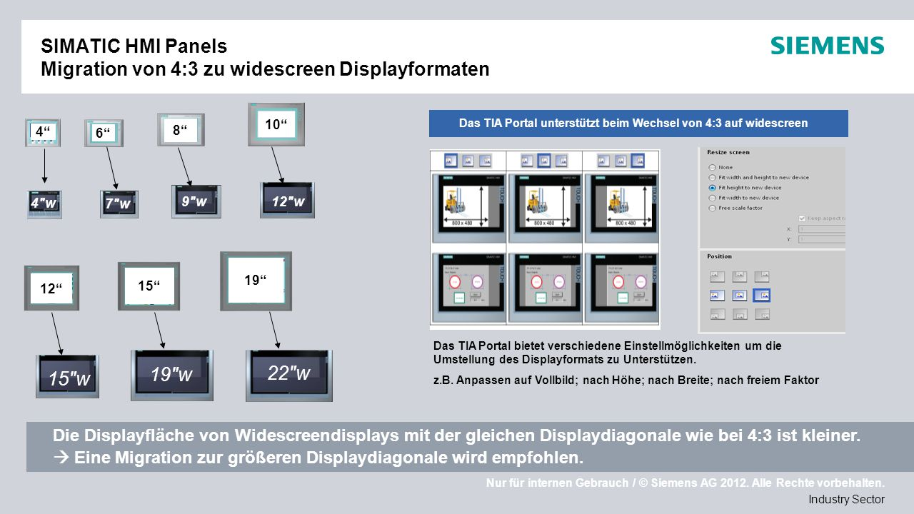 SIMATIC HMI Panels Migration von 4:3 zu widescreen Displayformaten