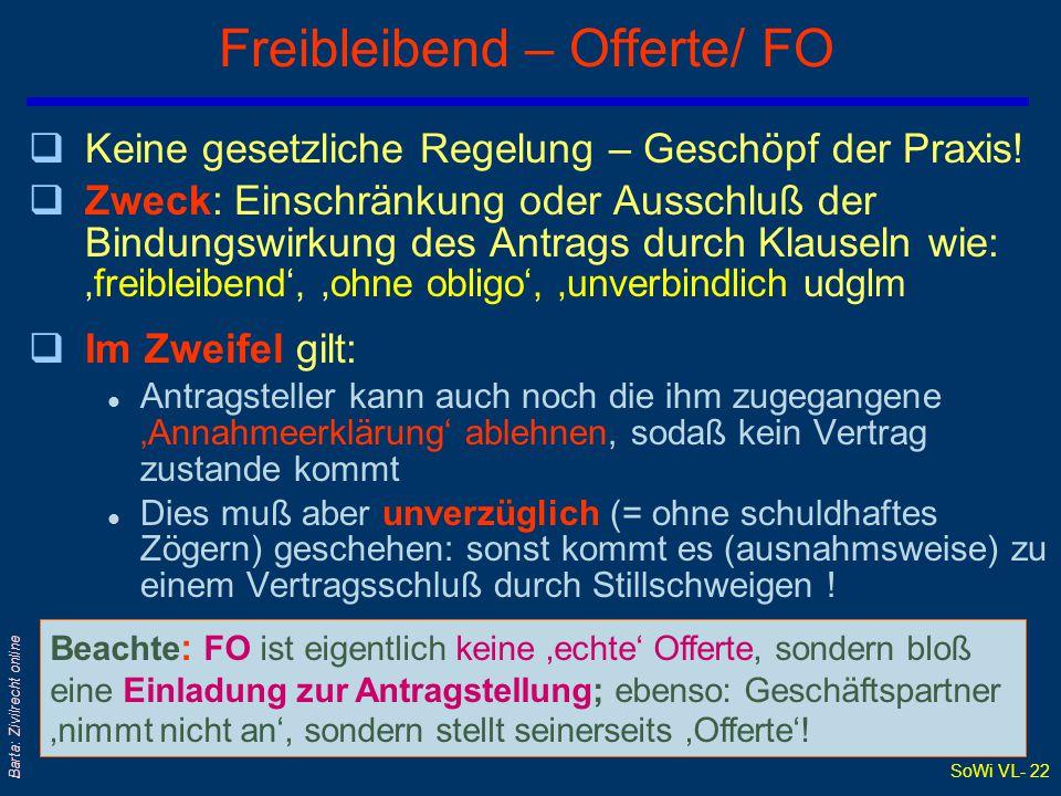 Freibleibend – Offerte/ FO