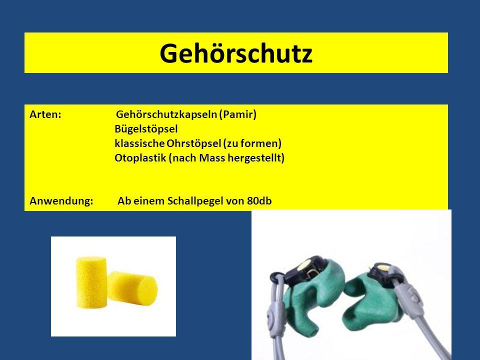 Gehörschutz Arten: Gehörschutzkapseln (Pamir) Bügelstöpsel