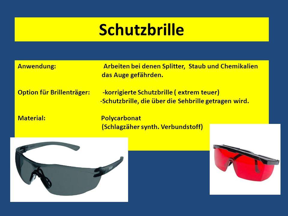 Schutzbrille Anwendung: Arbeiten bei denen Splitter, Staub und Chemikalien.
