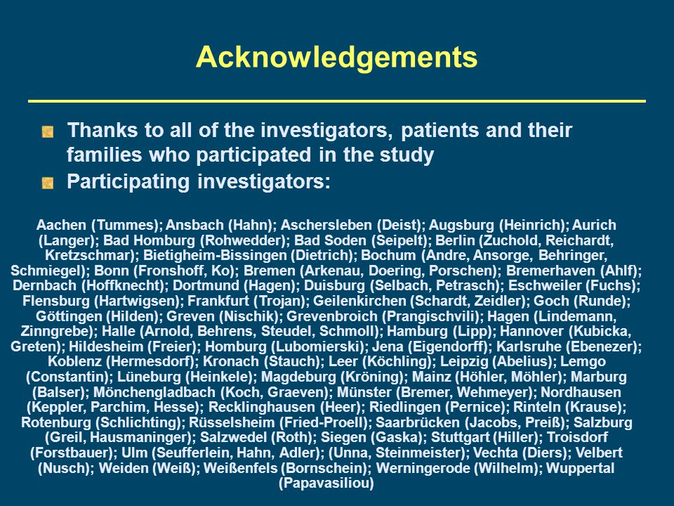 Acknowledgements Thanks to all of the investigators, patients and their families who participated in the study.