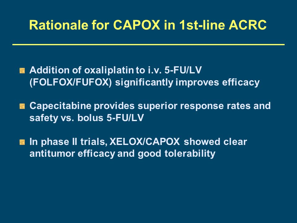 Rationale for CAPOX in 1st-line ACRC