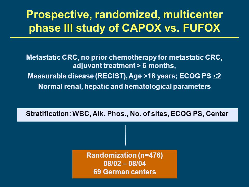 Prospective, randomized, multicenter phase III study of CAPOX vs. FUFOX
