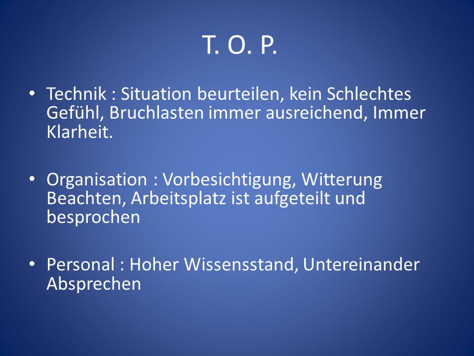 T. O. P. Technik : Situation beurteilen, kein Schlechtes Gefühl, Bruchlasten immer ausreichend, Immer Klarheit.