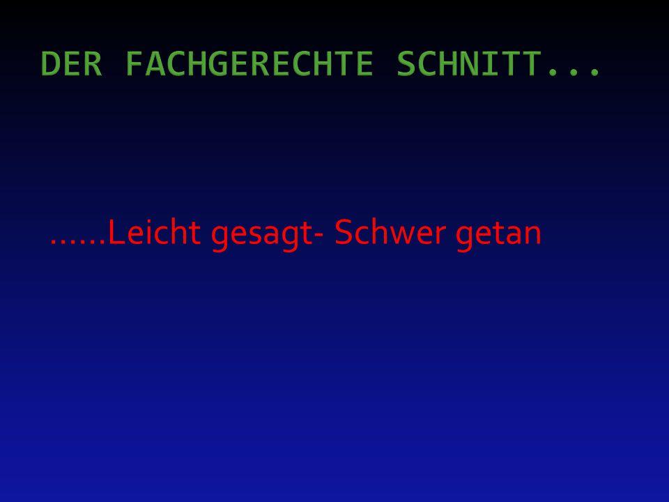 DER FACHGERECHTE SCHNITT...