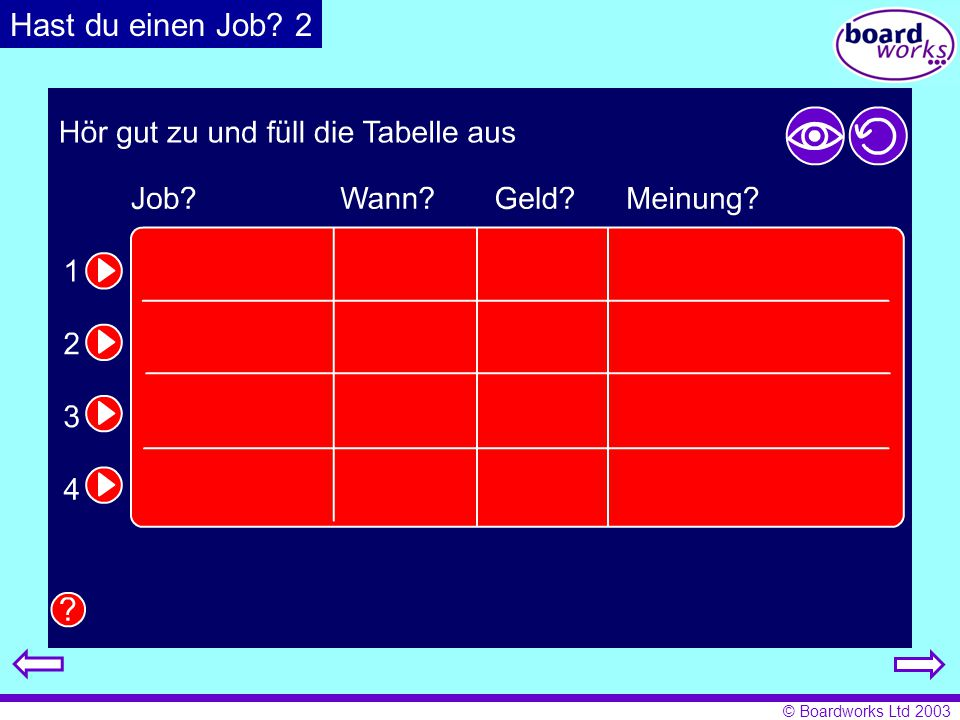 Hast du einen Job 2 Pupils listen and complete the table with the relevant details. Click on the eye to reveal answers, and the arrow to restart.