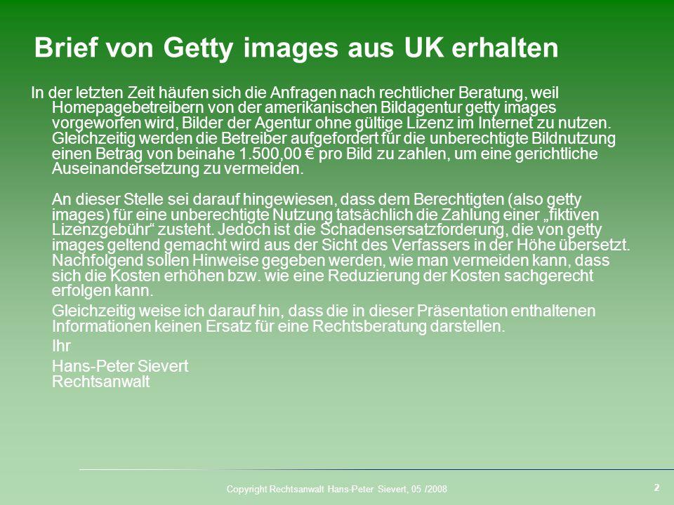 Brief von Getty images aus UK erhalten