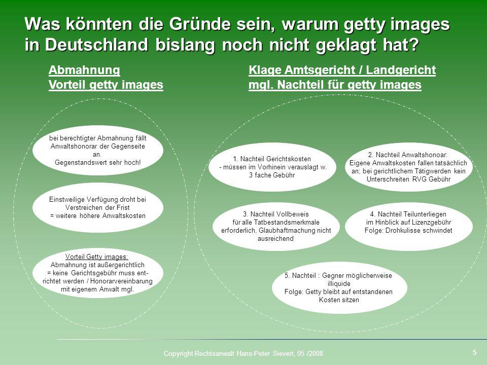 Was könnten die Gründe sein, warum getty images in Deutschland bislang noch nicht geklagt hat