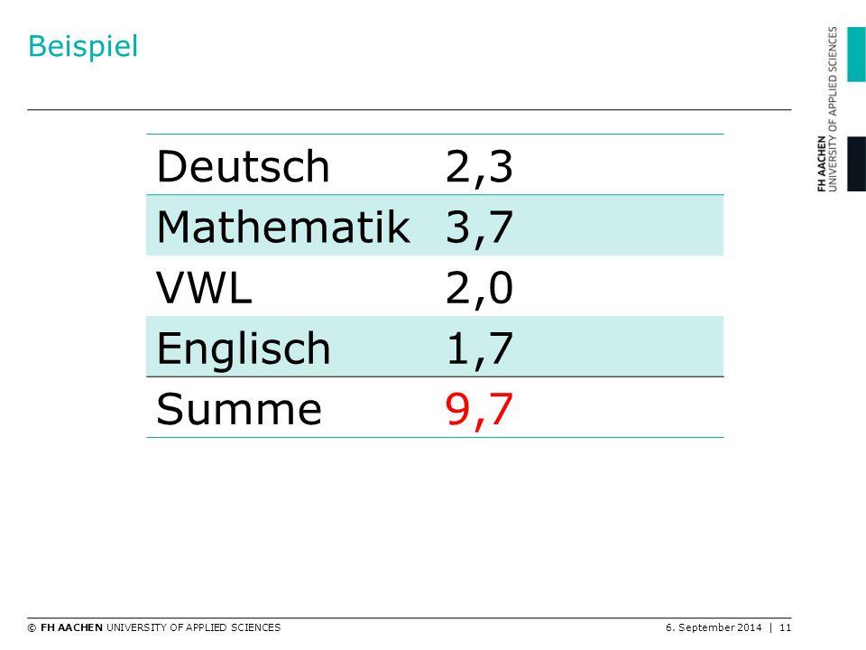 Beispiel Deutsch 2,3 Mathematik 3,7 VWL 2,0 Englisch 1,7 Summe 9,7