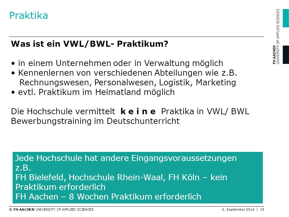 Praktika Was ist ein VWL/BWL- Praktikum