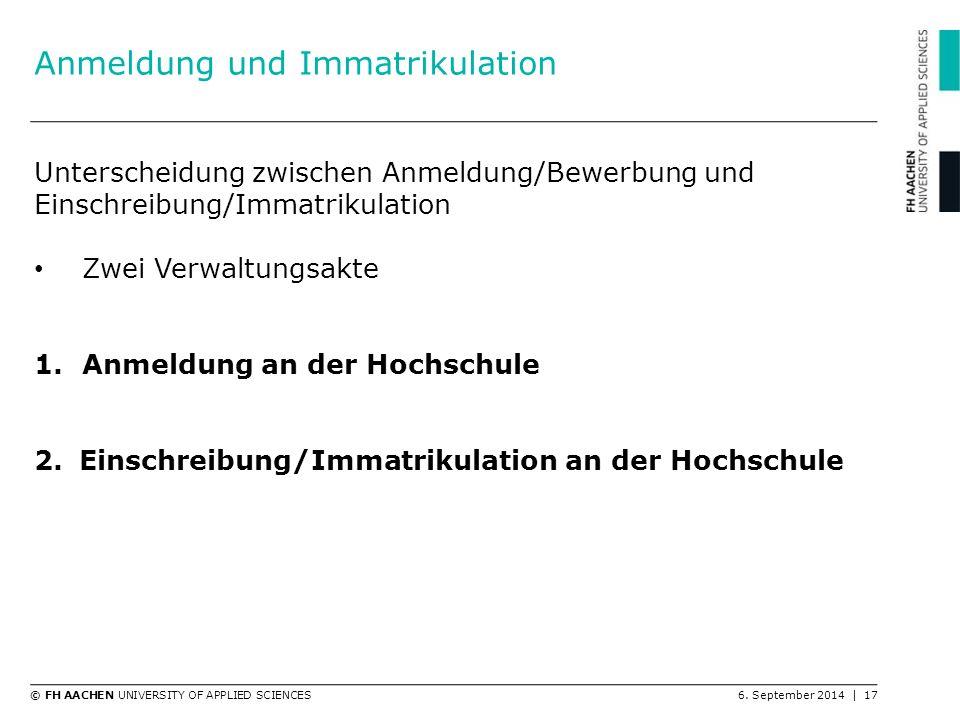 Anmeldung und Immatrikulation