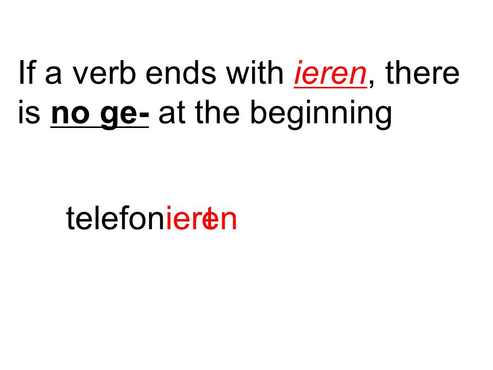 If a verb ends with ieren, there is no ge- at the beginning