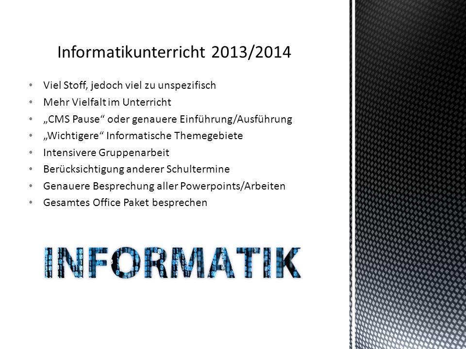 Informatikunterricht 2013/2014