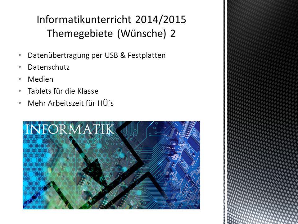 Informatikunterricht 2014/2015 Themegebiete (Wünsche) 2