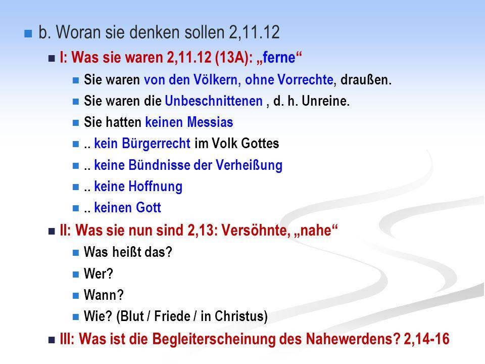 b. Woran sie denken sollen 2,11.12