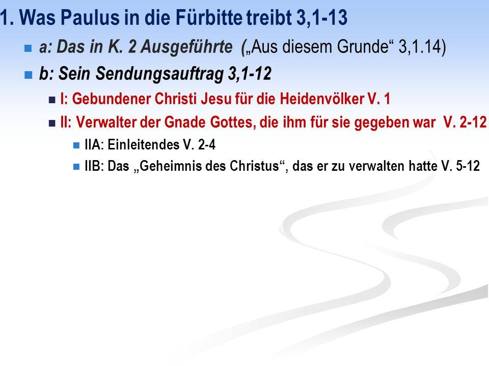 1. Was Paulus in die Fürbitte treibt 3,1-13