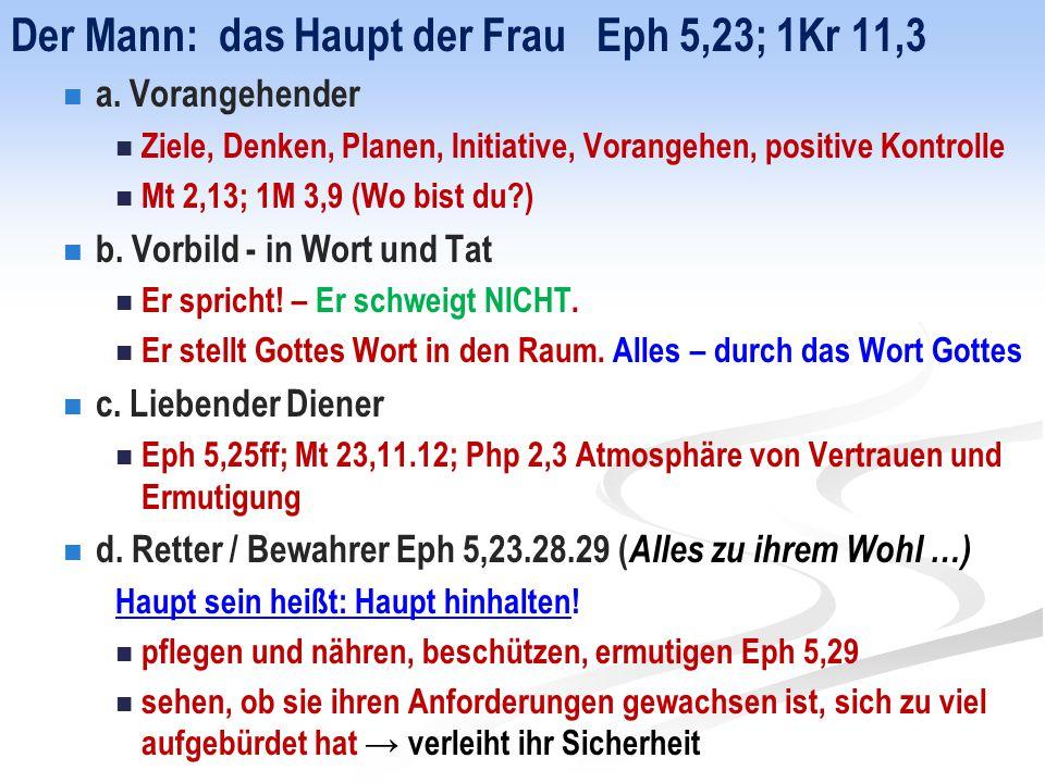 Der Mann: das Haupt der Frau Eph 5,23; 1Kr 11,3