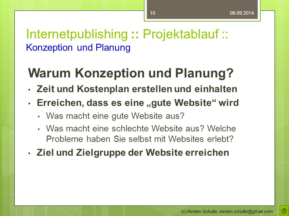 Internetpublishing :: Projektablauf :: Konzeption und Planung