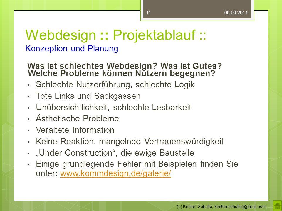 Webdesign :: Projektablauf :: Konzeption und Planung