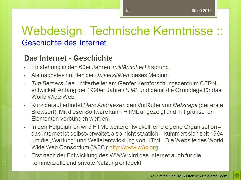 Webdesign :: Technische Kenntnisse :: Geschichte des Internet