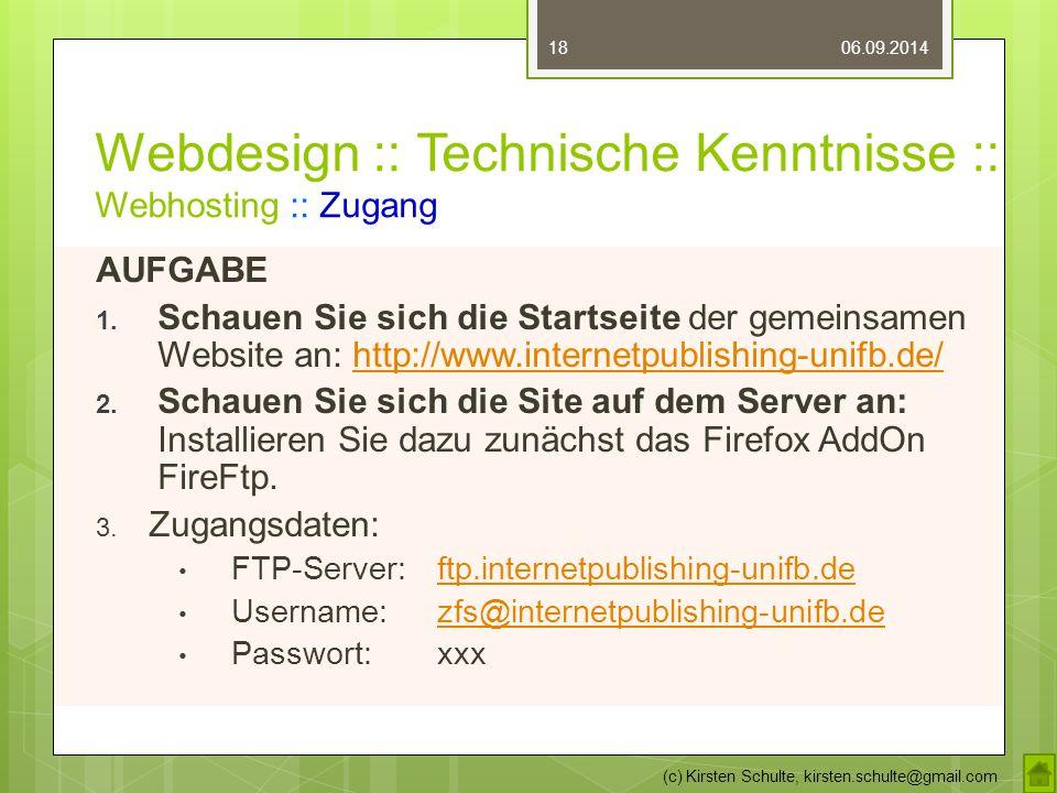 Webdesign :: Technische Kenntnisse :: Webhosting :: Zugang