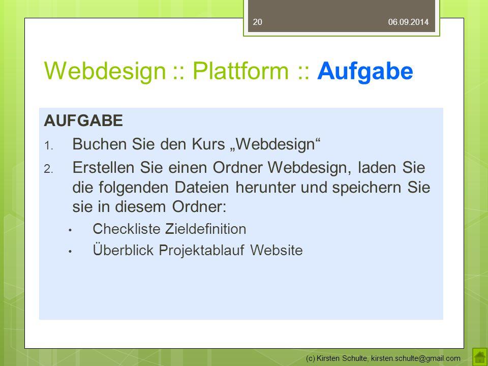 Webdesign :: Plattform :: Aufgabe
