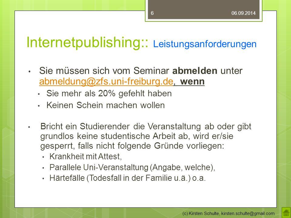 Internetpublishing:: Leistungsanforderungen