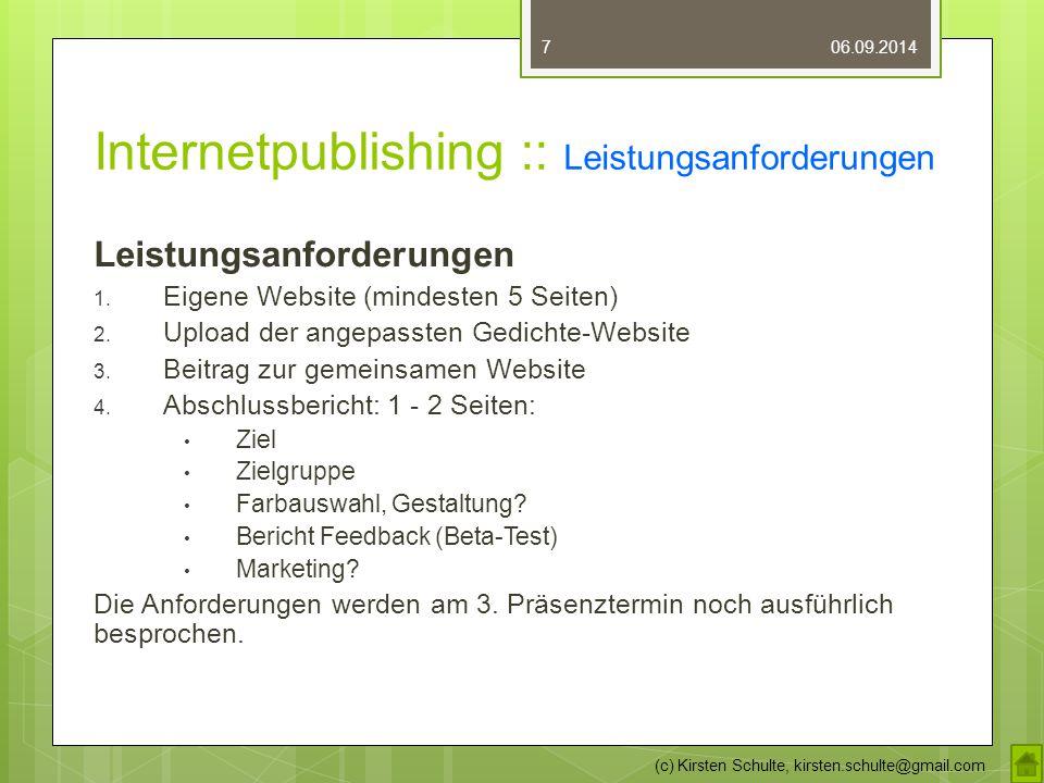 Internetpublishing :: Leistungsanforderungen