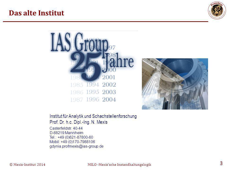 Das alte Institut Institut für Analytik und Schachstellenforschung Prof. Dr. h.c. Dipl.-Ing. N. Mexis.
