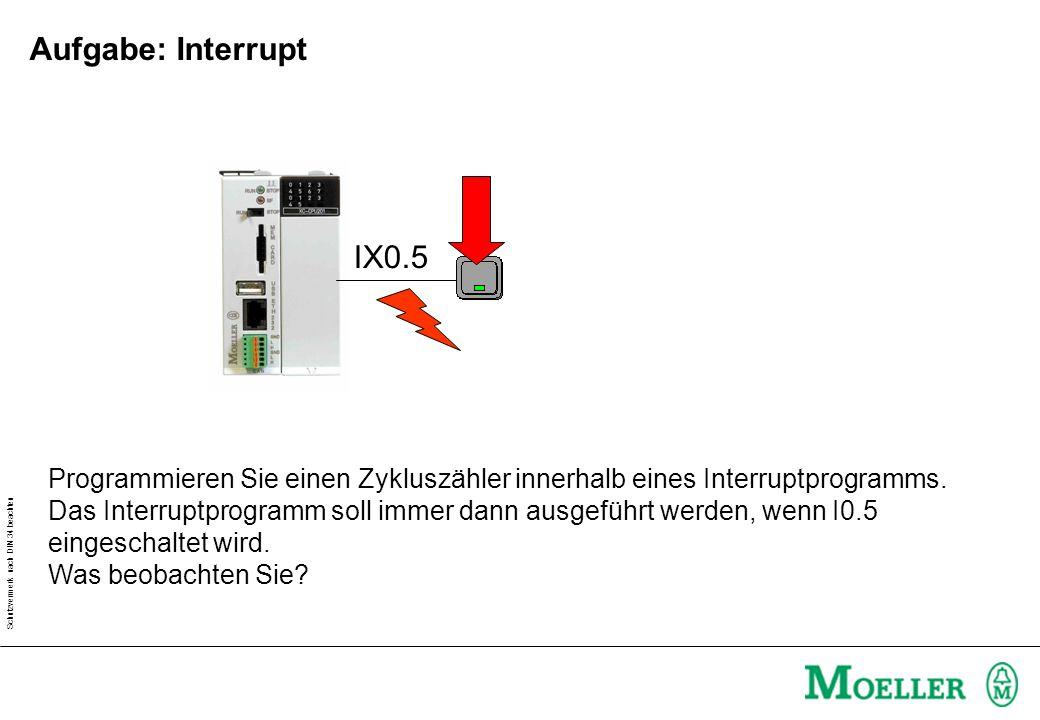 Aufgabe: Interrupt IX0.5. Programmieren Sie einen Zykluszähler innerhalb eines Interruptprogramms.