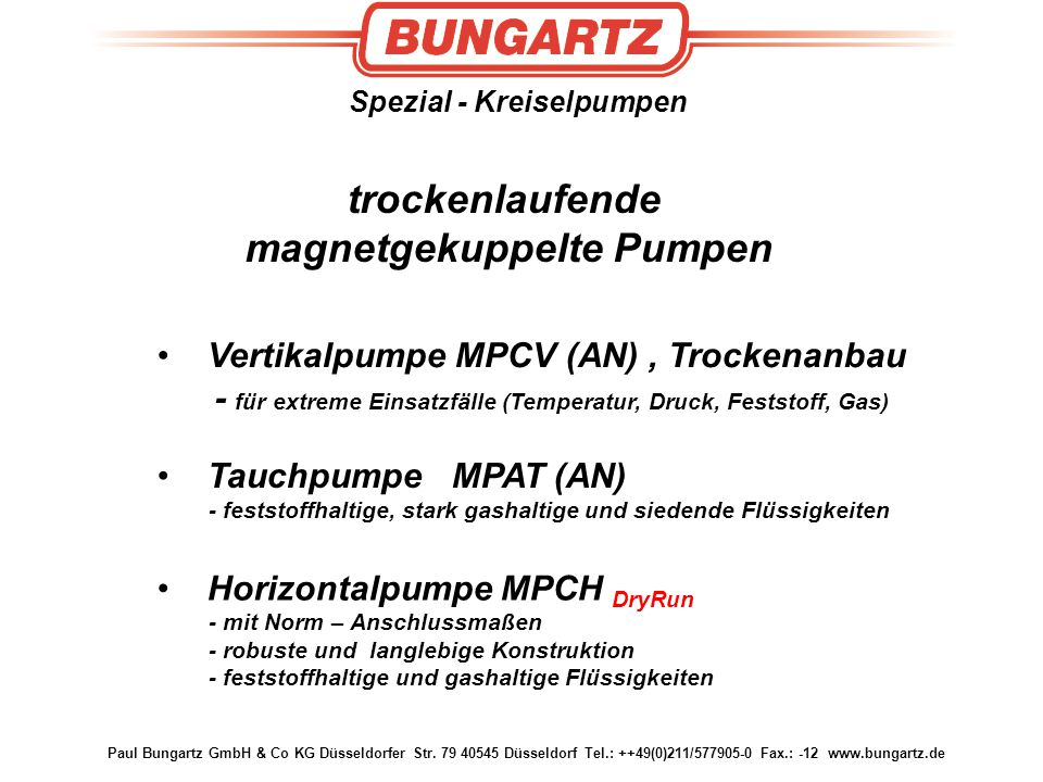 Spezial - Kreiselpumpen magnetgekuppelte Pumpen