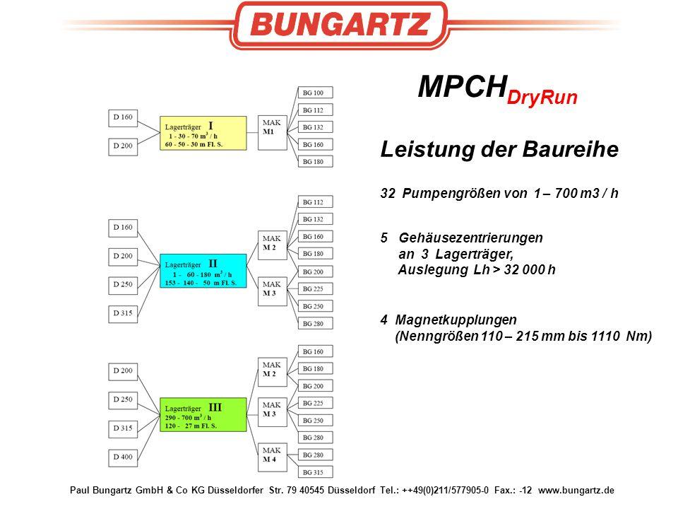 Leistung der Baureihe MPCHDryRun 32 Pumpengrößen von 1 – 700 m3 / h