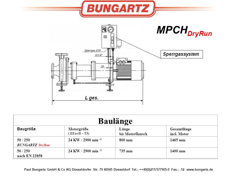 Baulänge MPCHDryRun Sperrgassystem L ges. Baugröße Motorgröße Länge