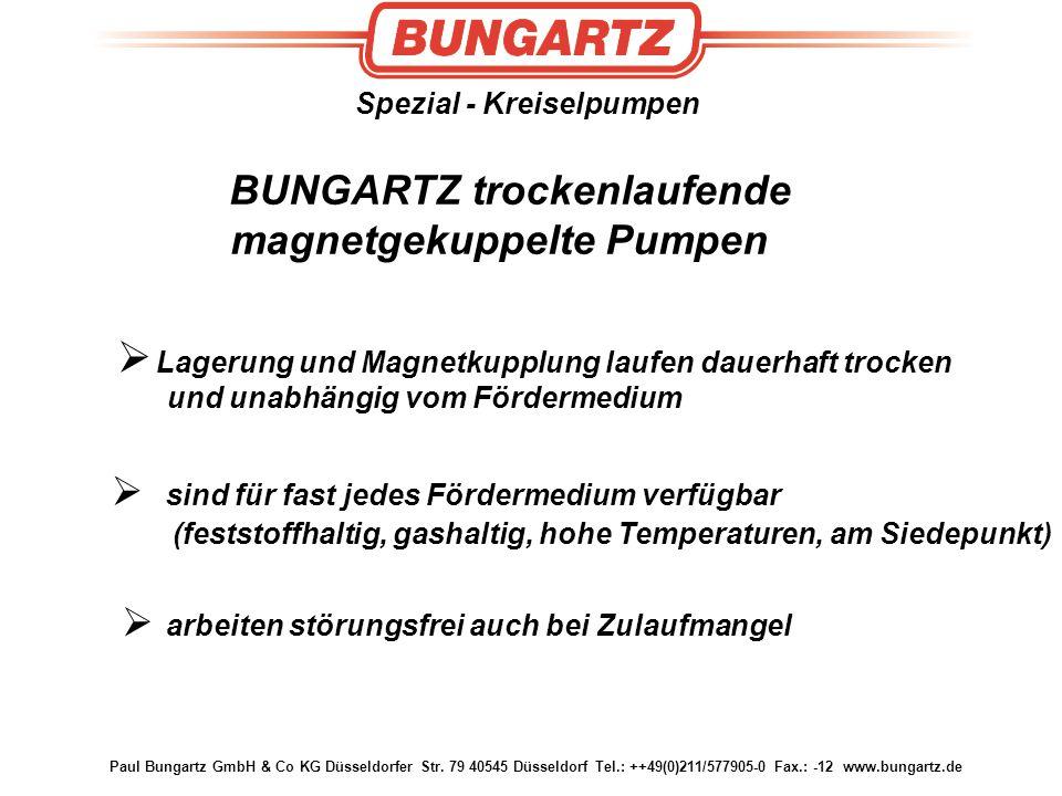 BUNGARTZ trockenlaufende magnetgekuppelte Pumpen