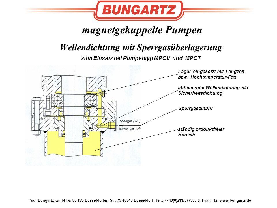 magnetgekuppelte Pumpen Wellendichtung mit Sperrgasüberlagerung zum Einsatz bei Pumpentyp MPCV und MPCT