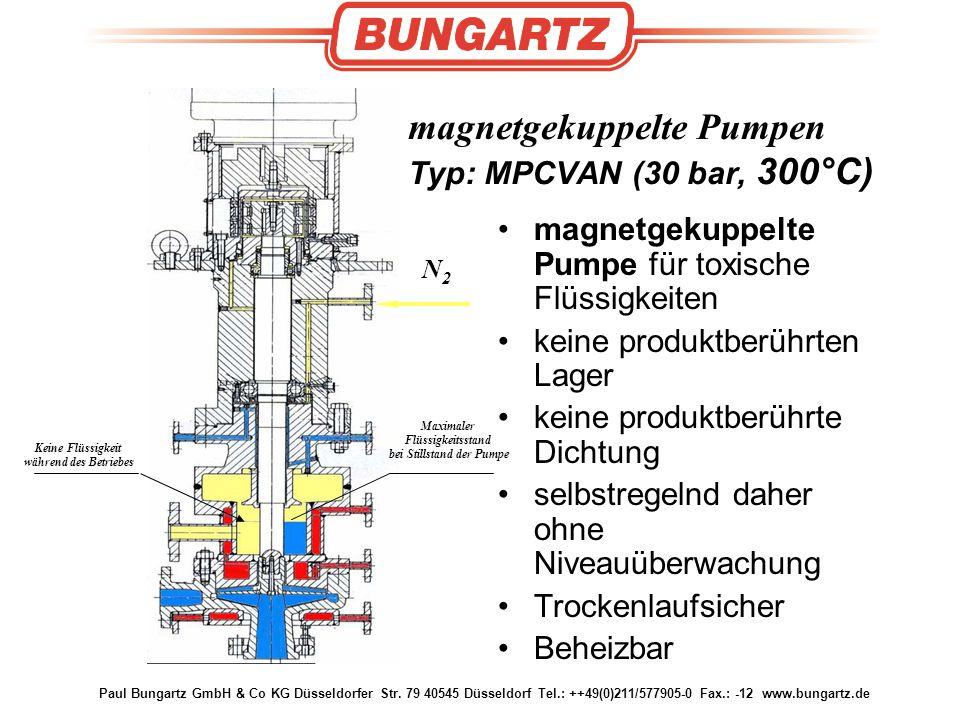 magnetgekuppelte Pumpen Typ: MPCVAN (30 bar, 300°C)