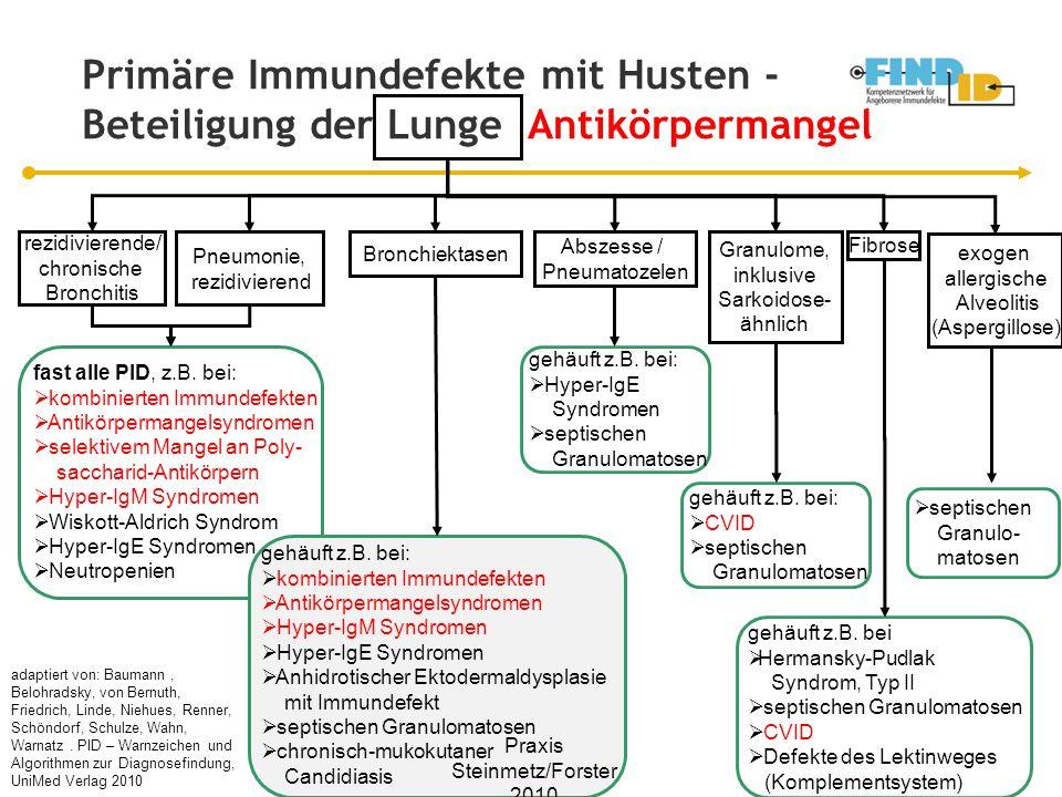 Primäre Immundefekte mit Husten - Beteiligung der Lunge Antikörpermangel