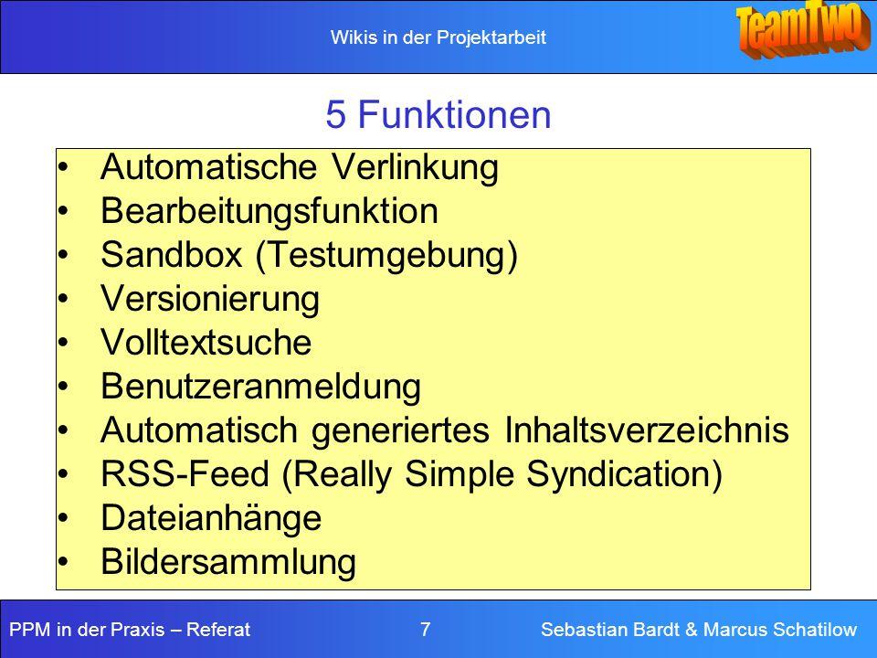 5 Funktionen Automatische Verlinkung Bearbeitungsfunktion