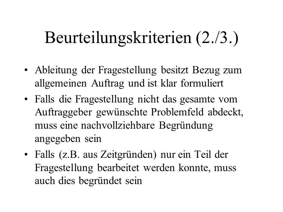 Beurteilungskriterien (2./3.)