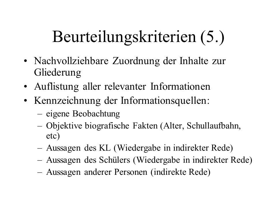 Beurteilungskriterien (5.)