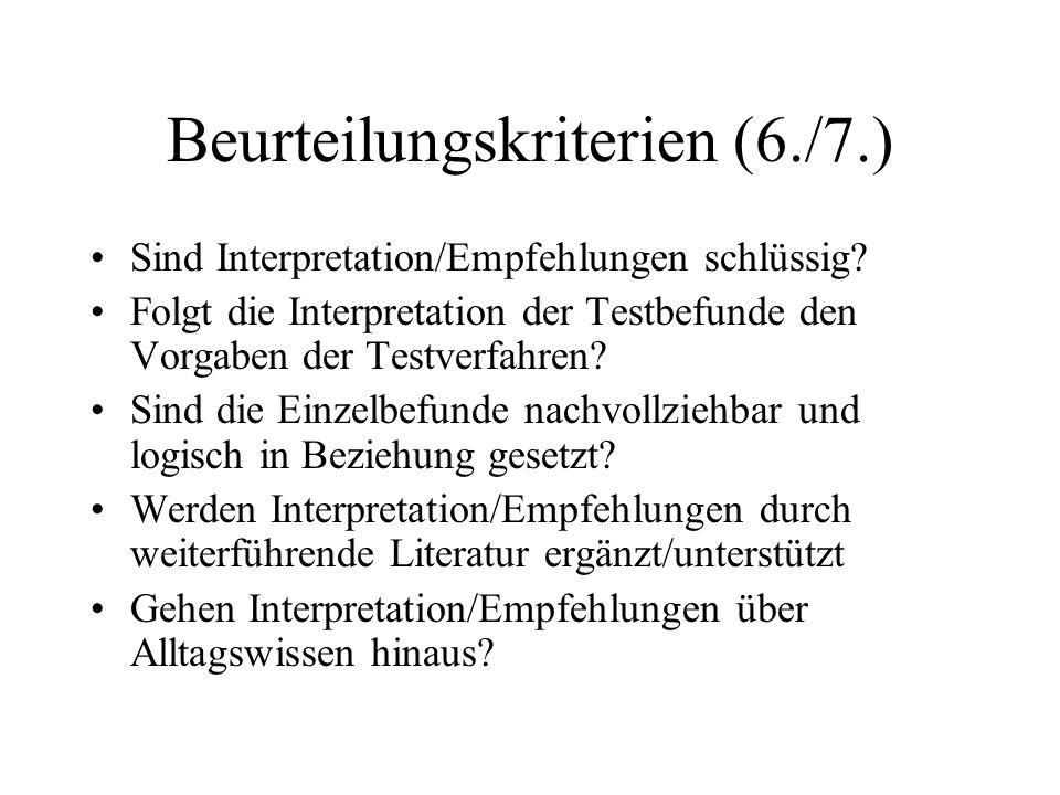 Beurteilungskriterien (6./7.)