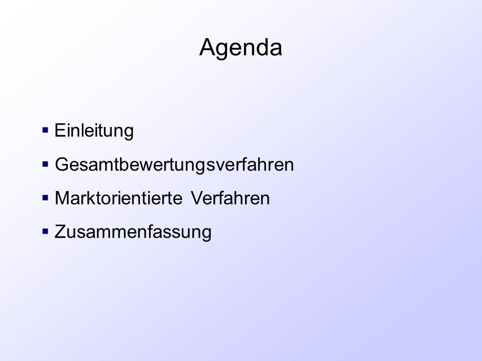 Agenda Einleitung Gesamtbewertungsverfahren Marktorientierte Verfahren