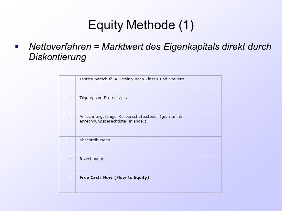 Equity Methode (1) Nettoverfahren = Marktwert des Eigenkapitals direkt durch Diskontierung. Jahresüberschuß = Gewinn nach Zinsen und Steuern.